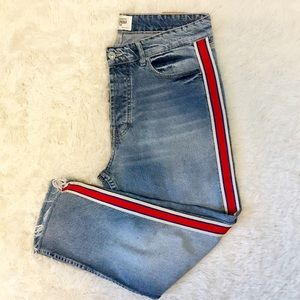Zara TRF Button Fly Jeans Stripes Sides High Waist